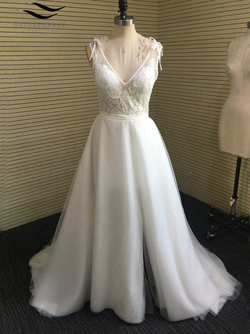 Solovedress Elegant White Ivory Appliques V Neck A Line Wedding Dresses Slit Chiffon Backless Beach Bridal wedding gown SL-W339