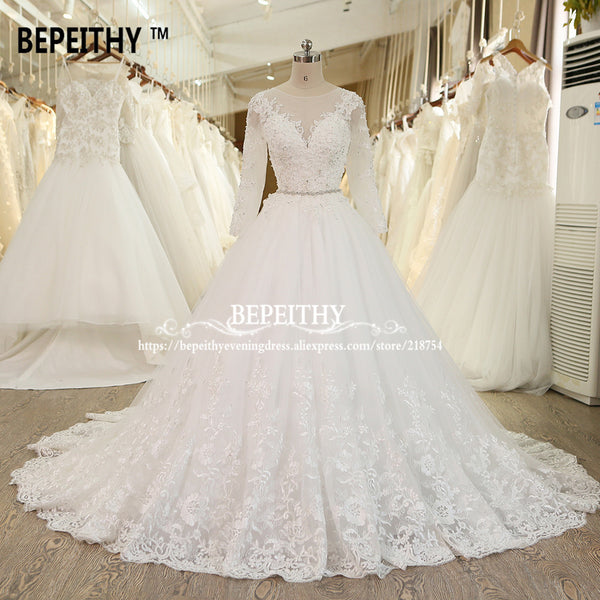 BEPEITHY Robe De Mariage Ball Gown Princess Wedding Dress With Crystal Sash Long Sleeves Lace Bridal Gowns Vestido De Novia 2017