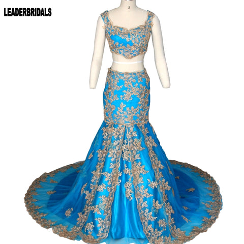 Vestidos De Novia Lace Wedding Dress Two Pieces Sleeveless Mermaid Turquoise Wine Gold Arabic Formal Crop Top Dress 2018 Dresses