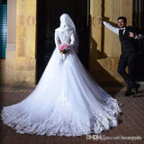Hijab Wedding Dresses Arabic Pure Lace Bridal Gown Train Long Sleeve