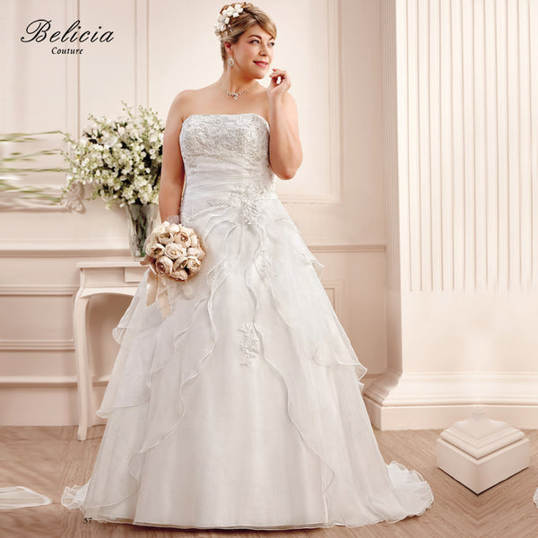 Belicia Couture Wedding Dresses Plus Size Beading Appliques Organza Bridal Gown Lace Up Back Ball Gown Strapless 2017