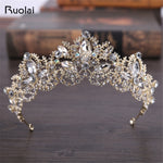 Luxury Baroque Crystal Beaded Wedding Veil Head Pieces Tiara Rhinestone for Women Wedding Party Crown Wedding Accessories FH3