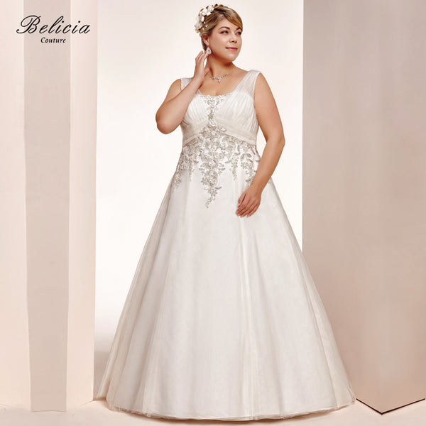 Belicia Couture Women Bridal Gown Beading Appliques Wedding Dresses Plus Size Square Collar Ball Gown Lace Up Back