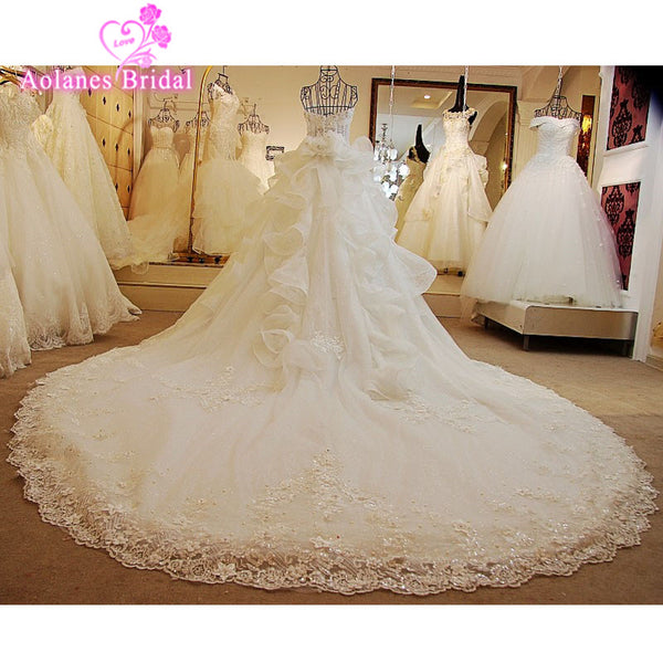 2017 New Luxury Sleeveless Beaded Sequined Ball Gown Wedding Dresses Pregnant Cathedral Appliques Plus Real Photos Bridal Gowns