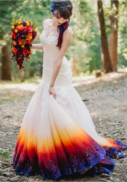 2017 Colorful Lace Mermaid Wedding Dresses Sleeveless Gorgeous Beaded Woman Bridal Gowns Vestido De Novia Open back Fishtail