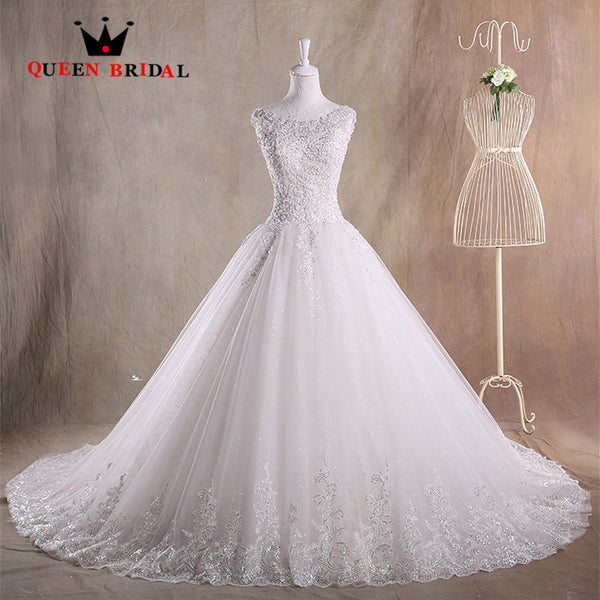 A line O neck Tulle Lace Beading Sequins Robe De Mariee 2017 Custom Made Lace Up Wedding Dresses vestido de noivas ZY27