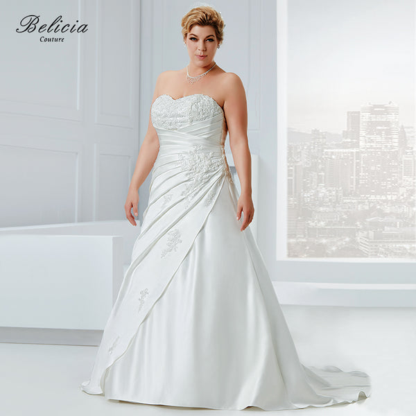 Belicia Couture Wedding dress Plus Size Satin Bridal Gown Beading Appliques Strapless Sweetheart Lace Up Back Pleat Waist