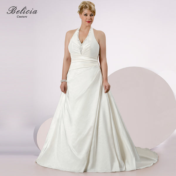 Belicia Couture Wedding Dress couture V-neck Halter Ivory White Plus Size Beading Appliques Lace up Back Quality Bridal Gowns