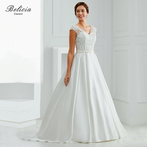 Belicia Couture Lace V Neck Pleated Lace Wedding Dress Princess Bridal Gowns Ball 2017 See Trough Back Dresses