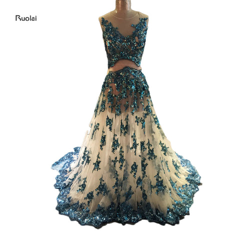 2017 Newest Charming Tulle Sequin Applique Sleeveless A-Line Prom Dresses Sheer Back Long Dress For Wedding Party Custom Made