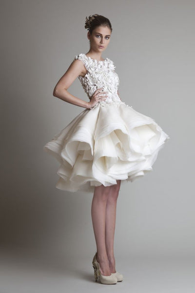 2017 Krikor Jabotian Organza Ruffles Short Wedding Dress Bateau Sleeveless A-Line Mini Beach Wedding Bridal Dresses XY485