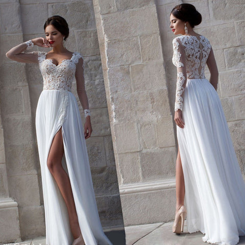 Simple 2016 Beach Wedding Dresses 2016 Custom Long Sleeve Chiffon Split Side A Line Bridal Gownss