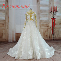 vestido de noiva hot sale nude tulle sexy transparent top Luxury lace Wedding Dress long sleeve Bridal gown wholesale price