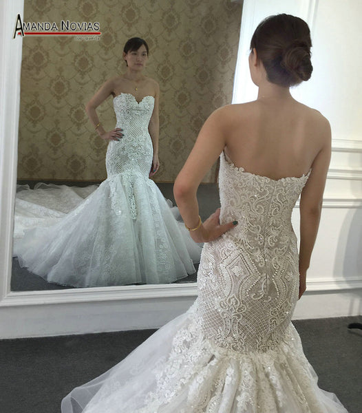 2018 New Arrival Champagne Mermaid Wedding Dress Full Beading