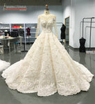 2018 New Arrivals Luxury Long Train Wedding Dresses Shinny Beads Bridal Dress Amanda Novias