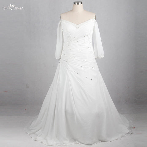 RSW1152 V neckline Off The Shoulders Long Sleeve With Split Pleated Design Plus Size Bridal Gown Chiffon Wedding Dress