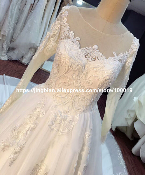 Arabic Luxury Lace Ball Gown Long Sleeve Wedding Dress 2017 Gelinlik Sheer Back Princess Illusion Applique Bridal Gown