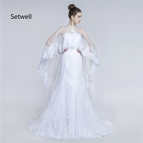 Setwell Unique Two Piece White Wedding Dresses With Cape High Quality Applique Lace Wedding Dress  Long Mermaid Wedding Gowns
