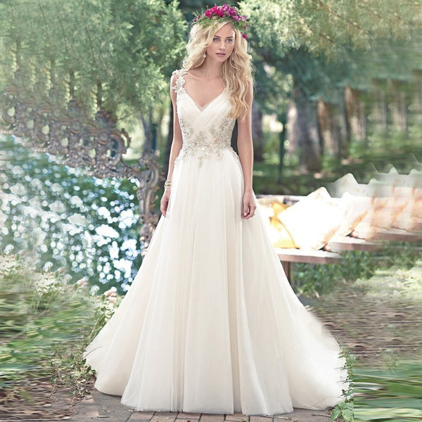 Alice Recommend  Sexy V-Neck Tulle Beads Crystal Long Backless Beach wedding dress 2017 vestido de festa