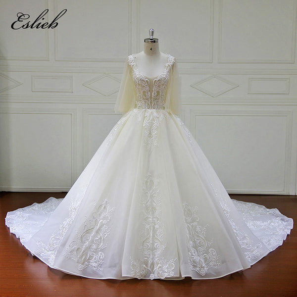 XF17072 Real Pictures Ball Gown Bridal Dress Vintage Plus Size Lace Wedding Dress 2017 Princess with Sleeve Special Lace Gown