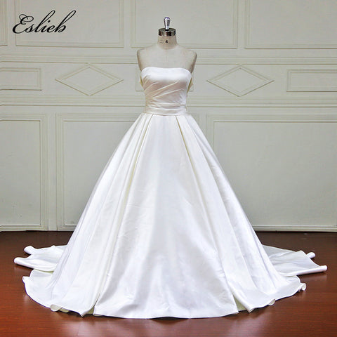 Simple Strapless A Line Princess Wedding Dress Elegant Style Sashes Lace Up Back Bow Court Train Bridal Gown Custom Size