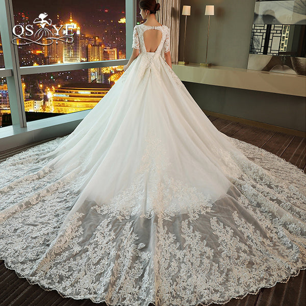 QSYYE 2018 Vintage Lace Wedding Dresses Princess Sweetheart Beaded Appliques Sexy Open Back Court Train Bridal Gown Custom Made