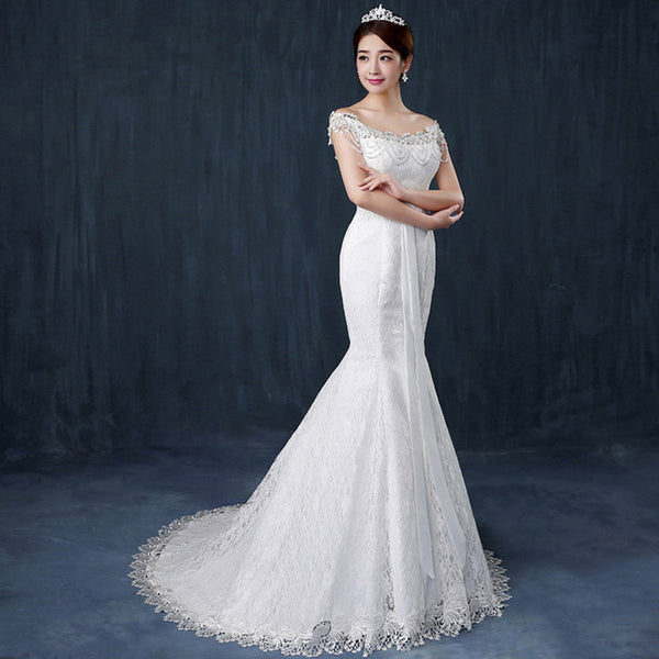 2017 Ivory White Sexy Lace Mermaid Dress Boat Neck Train Wedding Dress Bride Laceup Bow Elegant Embroidery Gowns Customzie DLD72