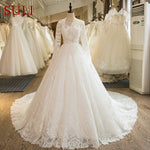 SL-1004 Real Picture Bridal Dress Long Sleeve Lace Boho Wedding Dress 2017