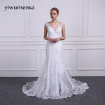 yiwumensa vestidos de noiva	Real Model Mermaid wedding dress 2017 Sleeveless Lace Appliques Beads wedding dresses Bridal gowns