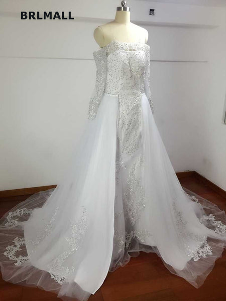 2018 Simple Ball Wedding Dresses Tulle Beading Crystal Applique Bridal Gowns Custom Made Full Sleeve High Quality Real Picture