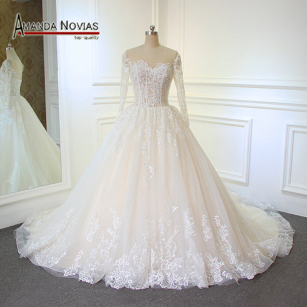 2018 Light Champagne Wedding Dress mariage With Long Sleeves