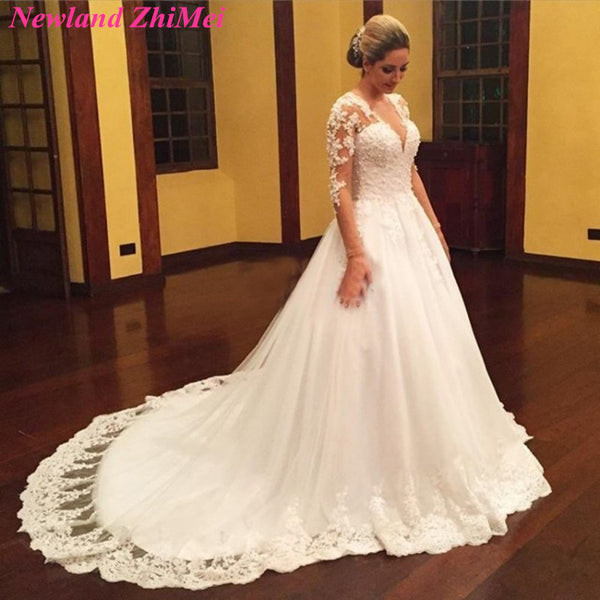 Beautiful Women Long Sleeve Bridal Gown abiti da sposa 2018 Vintage Muslim Mermaid Lace Wedding Dresses
