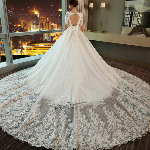 Vestido de Noiva Elegant Korean Ball Gown Wedding Dresses Court Train Open Back Bride Dress Lace 2018 Wedding Gowns Half Sleeve