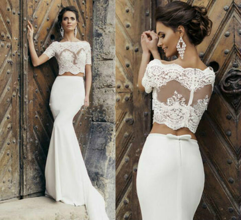 Sexy Short Sleeve two piece mermaid prom dress 2017 Lace Appliqued Bridal Dress