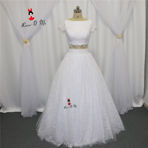 Imported China 2 Piece Wedding Dresses 2017 Lace Wedding Gowns Cap Sleeve Ball Gown Bride Dress Floor Length Abiti Da Sposa Boda