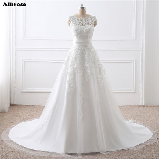2793b8876e In Stock 2 Piece White Wedding Dress Short and Long Wedding Dresses Ivory Bridal  Gown Chic Formal Dress Elegant robe de mariee