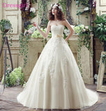 Beige Vestido De Noiva 2017 Wedding Dresses Ball Gown Sweetheart Tulle Appliques Lace Bow Boho Cheap Wedding Gown Bridal Dresses