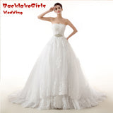 BacklakeGirl 2017 Elegant Vintage Court Train A-Line Long Wedding Dress Crystal Sash Organza with Embroidery vestido de novia