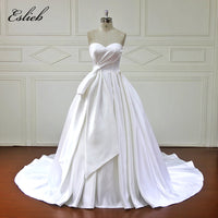 Eslieb  A-Line Wedding Dresses lace up back Satin Simple Vestido De Noiva Off the Shoulder Sweetheart Wedding Dress YE005