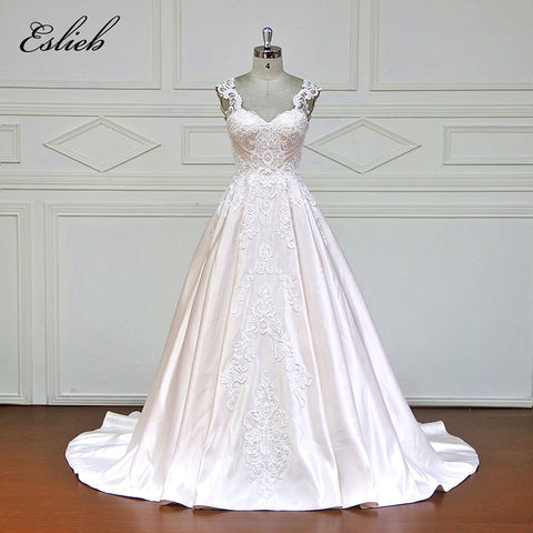 Eslieb Sweetheart A-Line Wedding Dresses Appliques Lace Royal Train Cap Sleeve Vintage Bride Dress 2018 Wedding Gown XF17105