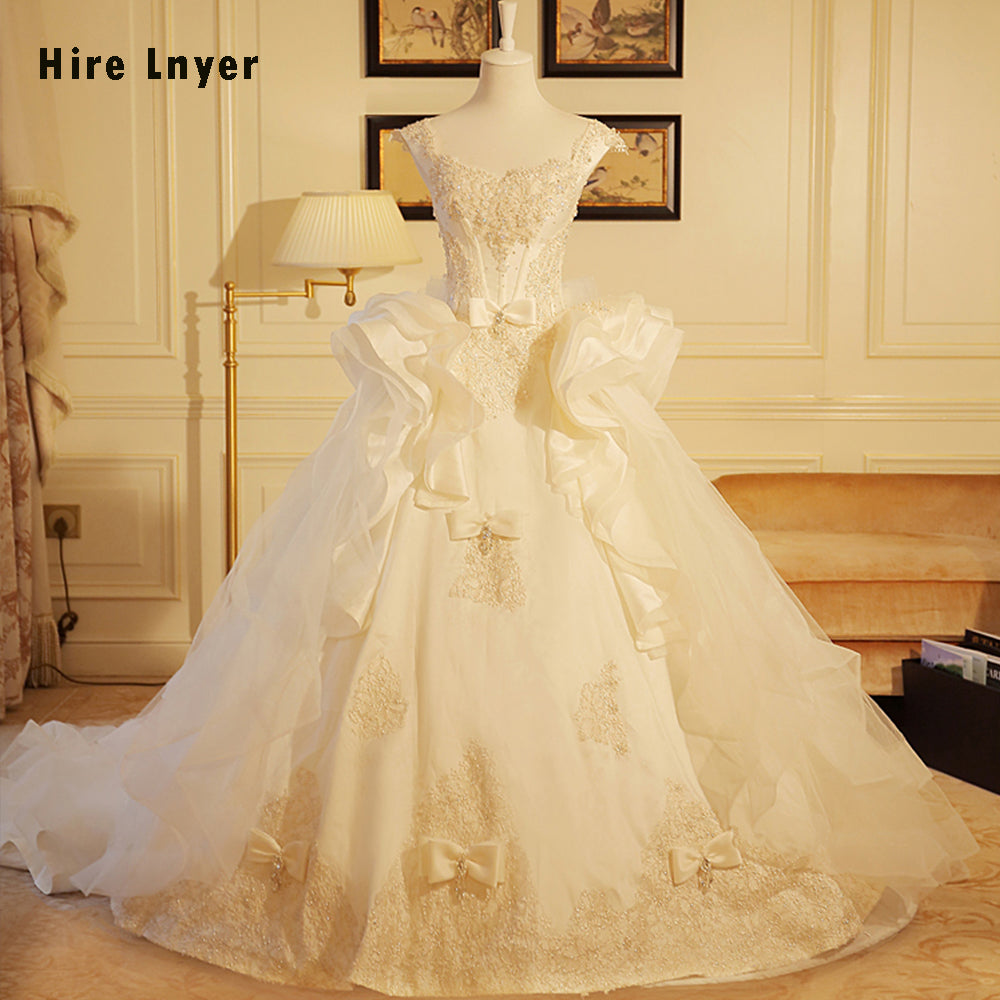 HIRE LNYER Sparkly Beaded Pearls Lace Bow Gorgeous Ball Gown Wedding ...