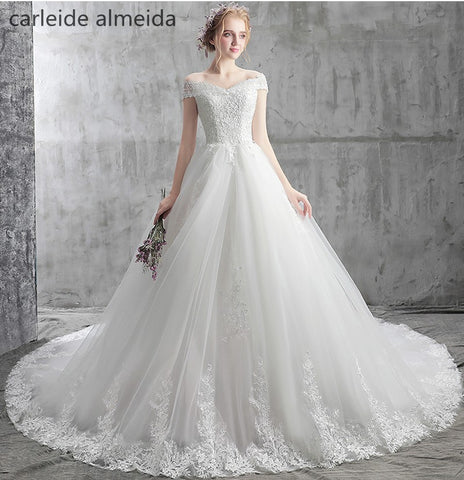 Vestido de Noiva Boat Neck Ball Gown Royal Tail Luxury Wedding Dresses  with Beads& Lace Appliques