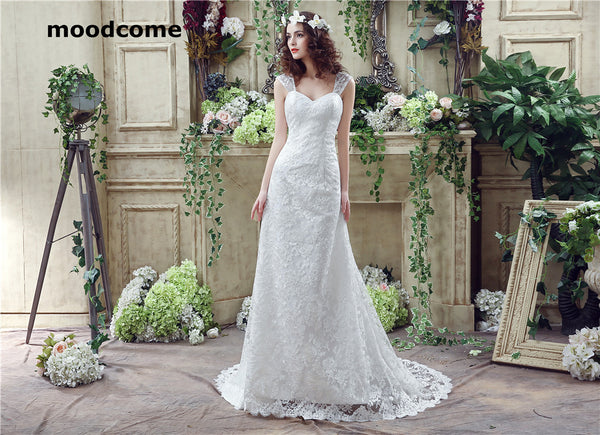 2018 Sexy Mermaid Wedding Dresses High quality Vintage Lace Applique Sweep Train Lace Up Bridal Gown