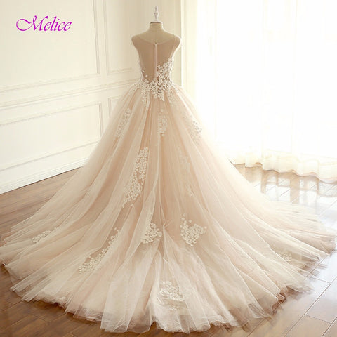 Melice Romantic V-Neck Robe De Mariage Ball Gown Princess Wedding Dress 2017 Appliques Cap Sleeve Bridal Dress Vestido de Noiva
