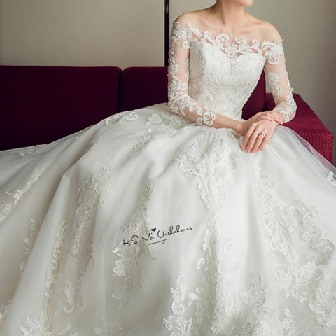 Gelinlik Church Lace Wedding Dresses Vestido de Noiva Manga Longa Long Sleeve Bride Dress 2018 Applique Princess Wedding Gowns