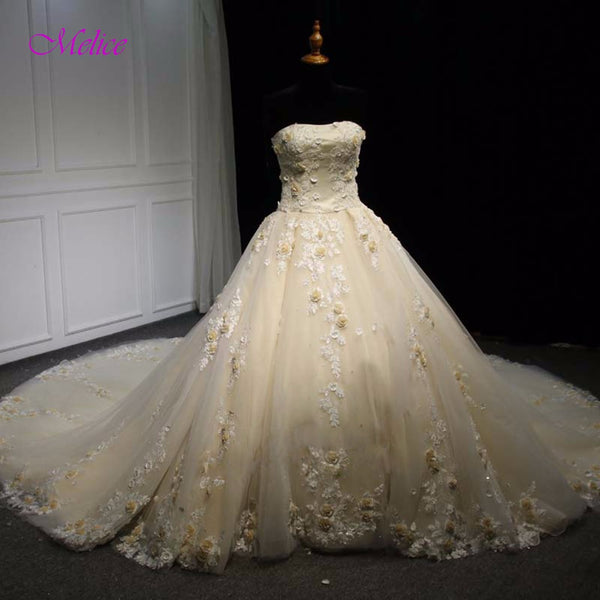 Melice Strapless Lace Up Embroidery Flowers Ball Gown Wedding Dresses 2017 Appliques Sequined Beaded Chapel Train Wedding Gown