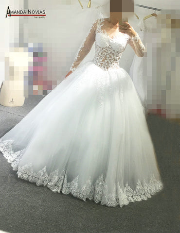 Amanda Novias Real Photos Sexy Bridal Wedding Dress With Lace Sleeves