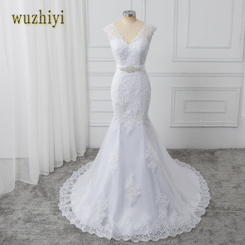 wuzhiyi vestidos de noiva Mermaid wedding dress 2017 with Beads Sashes Sexy v Neck wedding dresses White Bridal Gowns trouwjurk