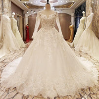 Wedding Dress 2017 The High-end O-neck Long Sleeve Luxury Embroidery Classic Sweep Train Ball Gown Sexy Illusion Bridal Gown F