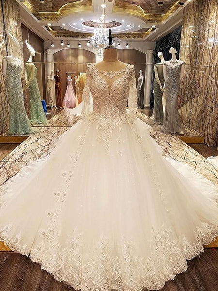 Wedding Dress 2017 Mrs Win The Bridal Half Sleeve O-neck Luxury Lace Embroidery Sweep Train Sexy Backless Illusion Ball Gown F